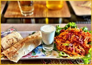 Bean Roll with Yoghurt dip and Carrot salad