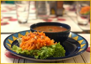 Carrot salad with Mexican soup
