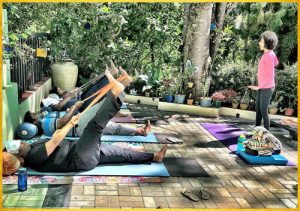 1Outdoor yoga- Belt Stretches for Hamstrings